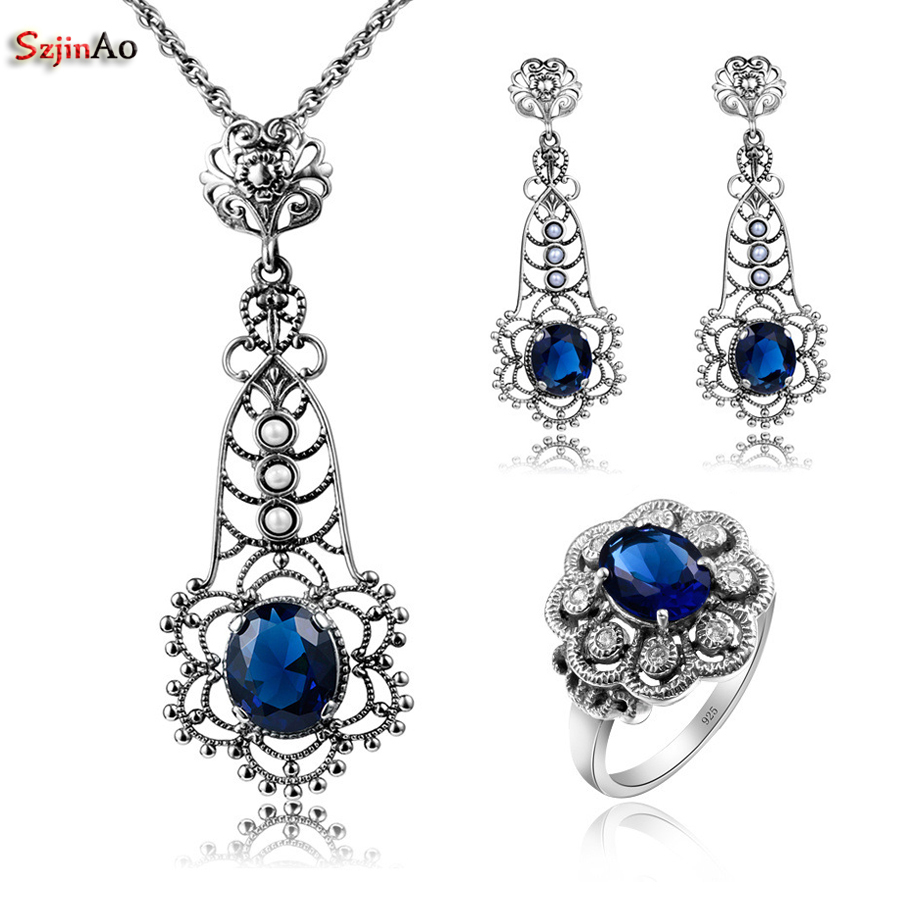 цены Szjinao 925 Sterling Silver African Party Jewelry Sets With Sapphire For Women Costume Earring Pendant Ring Wholesale