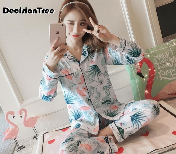 2019 femmes pyjamas dessin animé imprimé mignon pijama motif pyjamas ensemble pijamas mujer vêtements de nuit à manches longues chemise de nuit