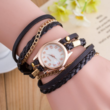Relogio Feminino Casual fashion Vintage Bracelet Women Watch Braided belt Leather Quartz Watches Dress Ladies Watches Clock fashion women bracelet vintage weave wrap cow leather butterfly beads quartz wrist watches relogio feminino kow007