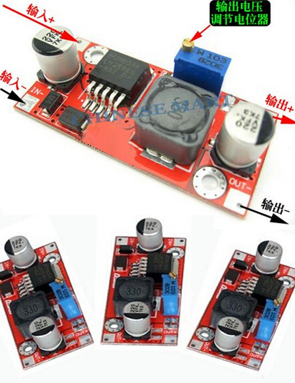 200pcs/lot LM2596 DC-DC Step Down Adjustable Power Supply Module 4-35V LM2596 dc-dc module Wholesale Free shipping #E09056