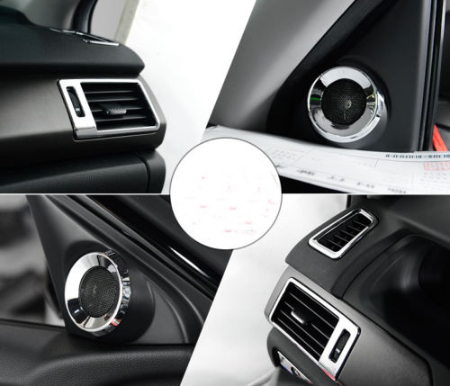 7pcs Car Air Vent Outlet Frame Trim Door Speaker Chrome Ring trim +Glove box switch cover For Honda Accord 2013 2014 2015 2017