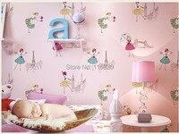 High Quality Mural wallpaper modern ballerina dance girl wall paper decor kids room papel de parede tapete bedroom 53x1000cm