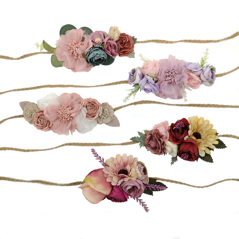 Vintage Flower Crown Headband Linen Rope Headband Infant Photography Props Baby Girls Hair Accessory Kidocheese