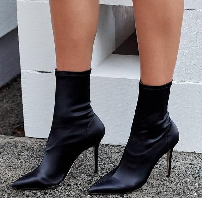 New Spring Women Sexy Black Color Elastic Satin Pointed Toe Mid-calf Thin Heels Slip On Party Short Boots Slim Botas Booties solid black winter spring women fringe decoration shoes slip on pointed toe spike high heels mid calf boots women free shipping