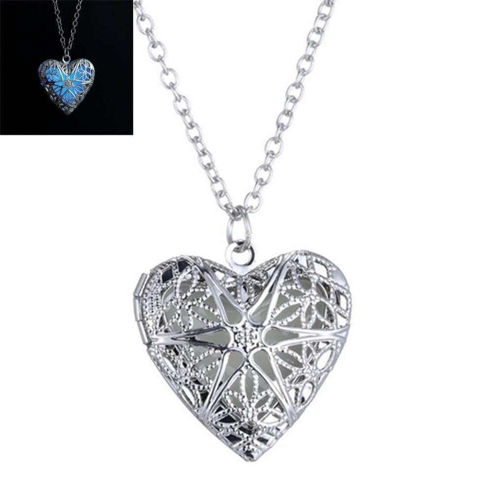 69625903784b Moda resplandor en la oscuridad en forma de corazón Locket colgante collar  de cadena regalo de la joyería
