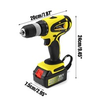 11800mAh 88TV 2 Speed Electric Cordless Drill 2 13MM Screwdriver Rechargeable Li ion BatteryX2 60NM W/ Drill Bits Accessories