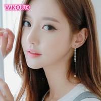 2018 new fashion Korean long earrings pearl tassel earrings drop earrings jewelry earrings For women Free shipping