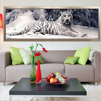 Round/Square Diamond Embroidery 5D Diy Diamond Painting Cross Stitch White Tiger Diamond Mosaic Animals Home Paintings crafts 1