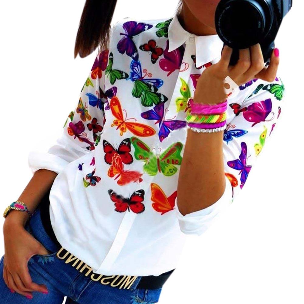 Blusas de las mujeres de la moda blanca de la mariposa de gasa blusa del cuerpo Tops Camisa de manga larga Casual blusa feminino Cómodo A5
