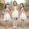 2016 дети свадебные платья для девочек рукавов Золотой Любовь Спинки лук лоскутное Марли невесты партия принцессы платье бальное платье