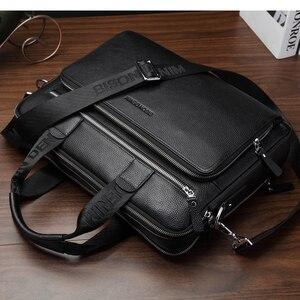 """Image 5 - BISON DENIM Borse Del cuoio Genuino 14 """"Borsa Del Computer Portatile di Affari degli uomini Crossbody Bag Messenger/Spalla per Gli Uomini N2333"""