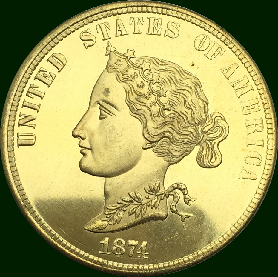 United States Of America Gold Coin 1874 Bickford Eagle 10 Ten Dollars Brass Copy Coin ...