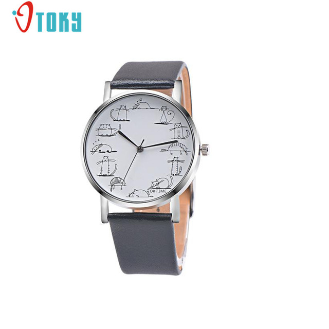 Unique Design Lovely Cartoon Cat Clocks Fashion Women Men Watches PU Leather Ban