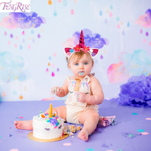FENGRISE Rainbow Unicorn Party Hat Baby Birthday Tail Colorful Hairbands Princess Headwear Hair Accessories