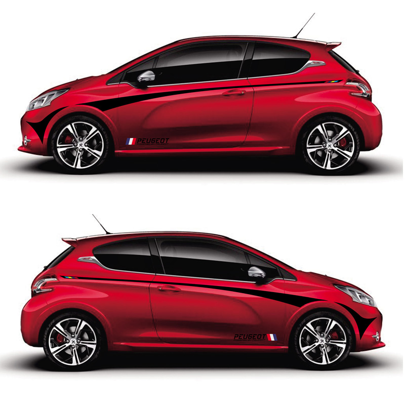 TAIYAO Car Styling Sport Car Sticker Car Accessories For PEUGEOT 208 GTI  XS Special Edition Both Side Sticker Car-styling