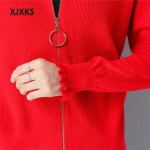 Image 4 - XJXKS Herbst Und Winter Frauen Pullover Mantel Gestrickte Frauen Strickjacken Solide Jacke Zipper Langarm Elegante Pullover Mäntel