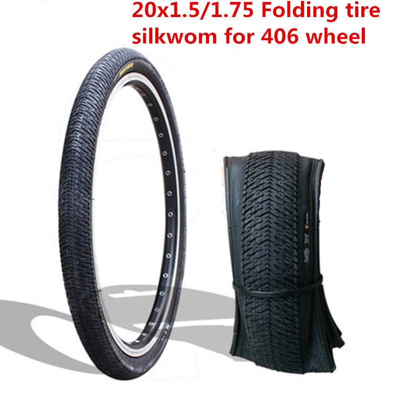 1pcs <font><b>BMX</b></font> folding <font><b>tire</b></font> 20x1.5/1.75 inch folding bicycle <font><b>tire</b></font> for 406 wheel 20inch silkworm anti-stab <font><b>tire</b></font> <font><b>BMX</b></font> spare image