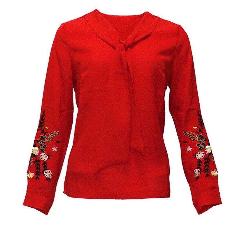 Wz195 Tops Primavera rojo Blusas Negro cuello Jerséis Femenino Camisas Manga Señora amarillo Vintage Gasa Tie blanco Otoño Chic Breve Nueva Larga Mujeres V WpR6qUYY