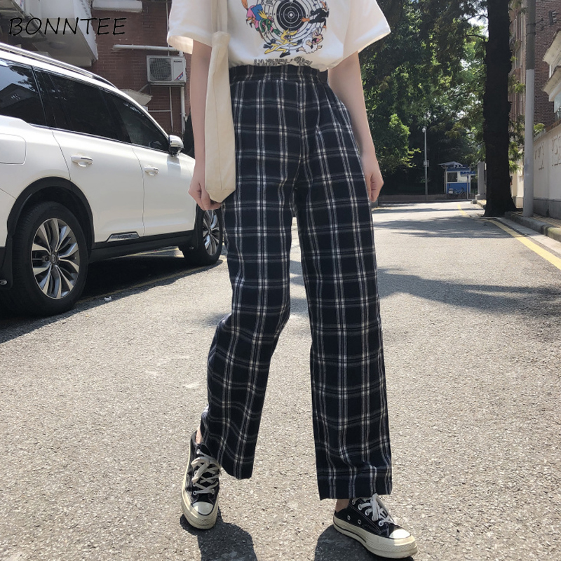 Pants Women Plaid Retro Pockets Elastic Waist Korean Style All-match Womens Spring 2020 Long Trousers Straight Leisure Loose