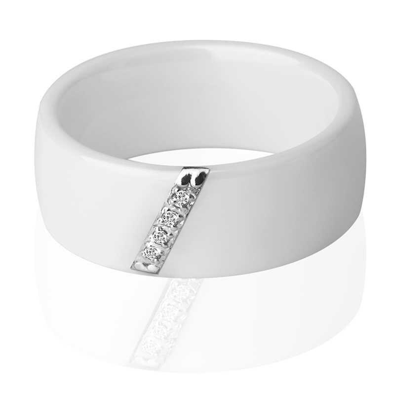 2019 Mới 6 Mm 8 Mm Đen Trắng Hồng Một Nhát Chém Crystal Ceramic Nhẫn Cao Cấp Cho Nữ LỜI HỨA Cưới Ban Nhạc quà Tặng Mẹ Trang Sức