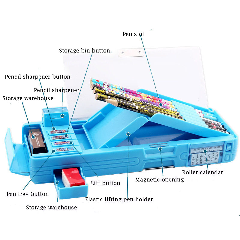Pupils Pencil Case Children's Stationery Box School Supplies  Large Capacity School Multi-function Buttons Cool Changes