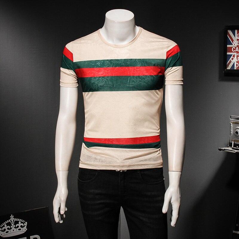 Men Fashion Designer T shirts Summer New Cotton Classic Striped T shirt for Men T shirts Short Sleeve O neck Tees 4XL 5XL 81889