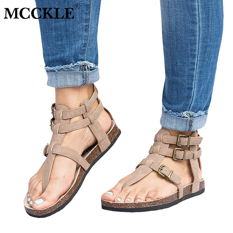 MCCKLE Summer Gladiator Sandals Plus Size Women Flat Shoes Rome Style Buckle Flip Flops For Female Causal Beach Sandal Footwear
