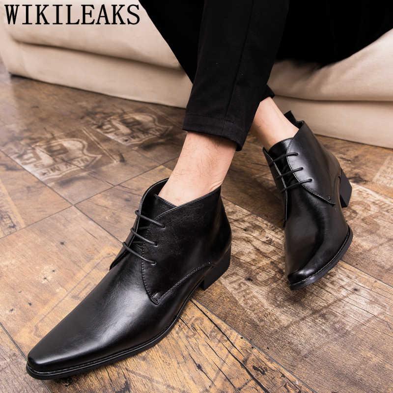 Botas de vestido dos homens designer italiano clássico homens sapatos de couro botas ankle boots homens coiffeur oficial sapatos bota masculina ayakkab