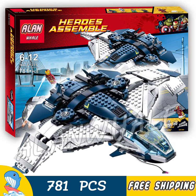 781PCS Bela SY359 superheroes Quinjet City Chase  Iron Man Black Widow Vision Ultron building blocks Bricks Compatible With Lego [bainily]511pcs superheroes space station iron man base attack on avengers tower model diy building blocks bricks toys