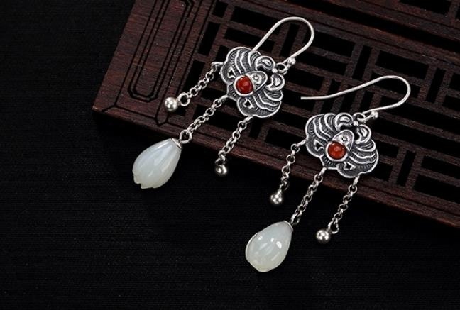 Sterling S925 925 silver Drop Earrings crab shape tassels natural stone trendy for woman earring 37MMSterling S925 925 silver Drop Earrings crab shape tassels natural stone trendy for woman earring 37MM