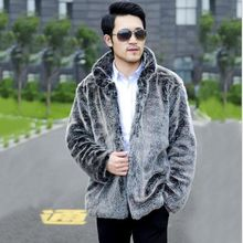 Hot sell 2018 new men winter fashion warm faux fur coat Light gray luxurious mandarin collar jacket Casual fox