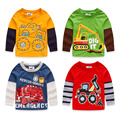 2017 cartoon car-styling spring and autumn girls boys long-sleeve children t shirts casual 100% cotton top patchwork sleeve