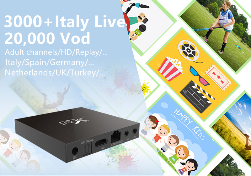 Europe IPTV Box X96 2G/16G Amlogic S905X Quad Core Android 6.0 TV Box Wifi HDMI 2.0A 4K*2K 20,000 vod 3000 live Italy Germany tv