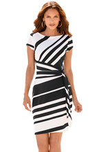 Work Dresses Women 2018 Autumn Pencil Red /Black /Navy White Stripe Knot Sheath Party Dress Vestidos Robes Casual 61657 pencil stripe knot cami top
