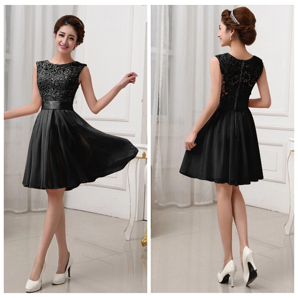 New Sexy O Neck Sleeveless Lace Short Party Formal Gowns Fashion Women Summer Chiffon Dresses Black White Pink S XXL In From Womens Clothing