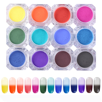BORN PRETTY 13pcs Set Thermal Color Change Pigment Temperature Color Change Powder Gradient Nail Art Powders