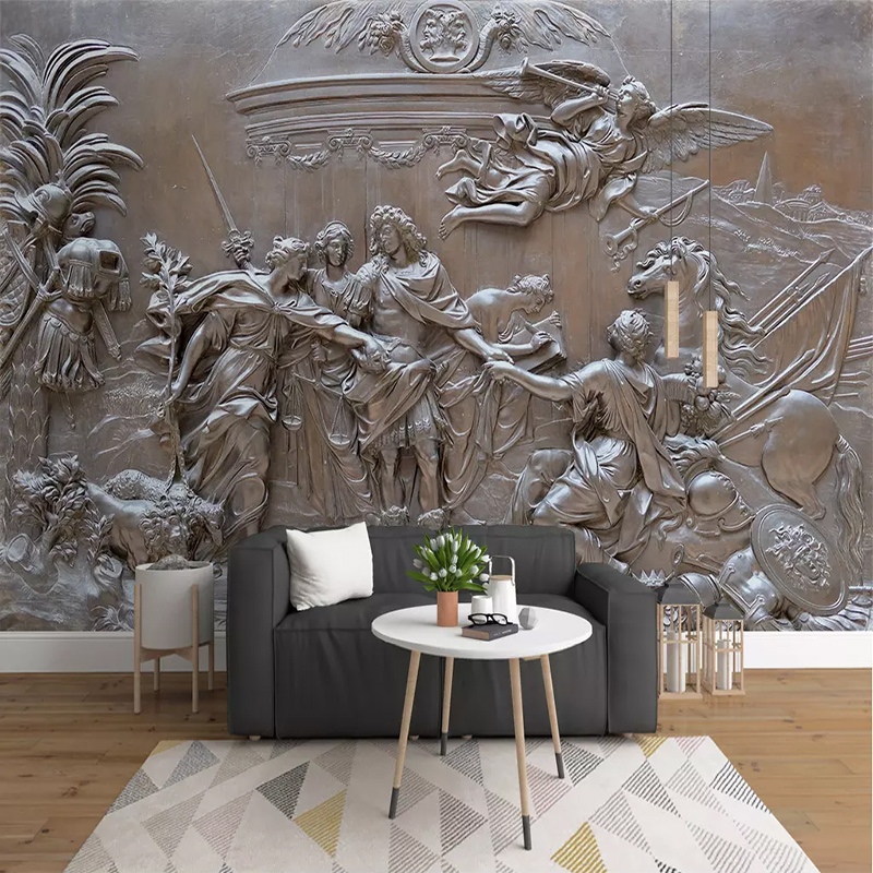 Custom Any Size European 3D Embossed Angel War Photo Mural Wallpaper Living Room TV Background Wall Decoration 3D Wall Cloth