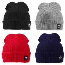 cac8a77e0e5d6e Children Hat Winter Warm Kids Comfortable Knitted Hat Smile Face Solid Cap Earflap  Beanie Crochet Baby