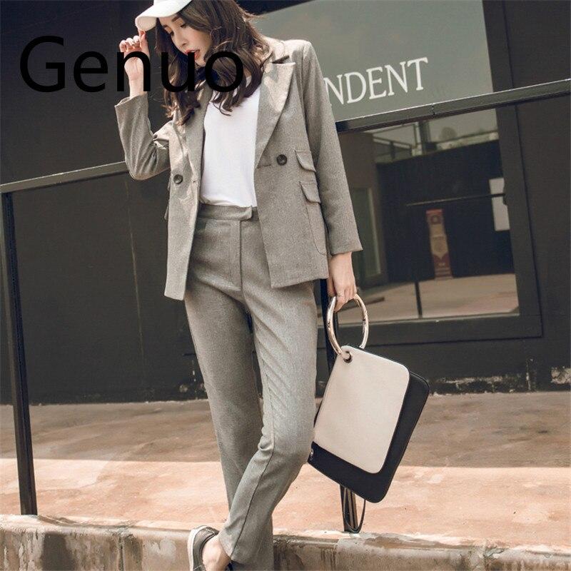 Women 2 Piece Sets Gray Casual Blazer & High Waist Pant Office Lady Notched Jacket Pant Suits Korean Suit Femme