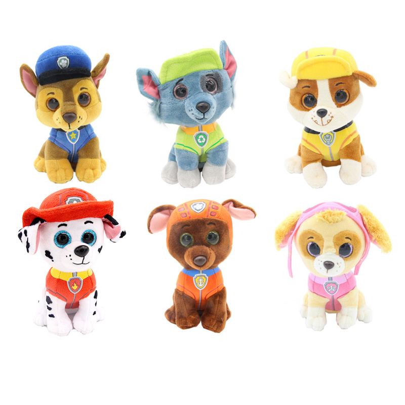 15cm Pups Ty Beanie Boos Original 6 Little Cartoon Puppy Dogs Stuffed & Plush Animals Dolls Toys for Children new electronic wristband patrol dogs kids paw toys patrulla canina toys puppy patrol dogs projection plastic wrist watch toys