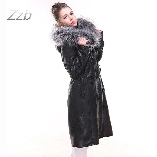 0edaf788ddf2f L URSS style Mode En Cuir Trench Coat Grande taille cultiver Fourrure avec  la peau