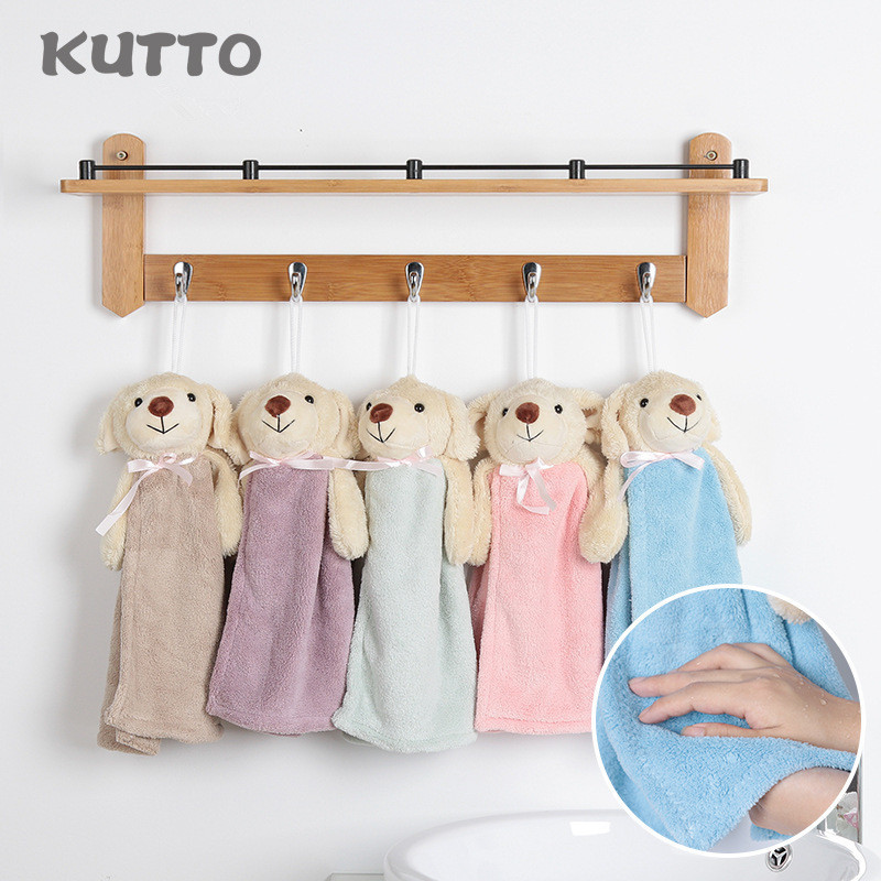 1PC Hand Towel DogTowel For Kids Chidren Microfiber Absorbent Hand Dry Towel Kitchen Bathroom Soft Plush Dishclot