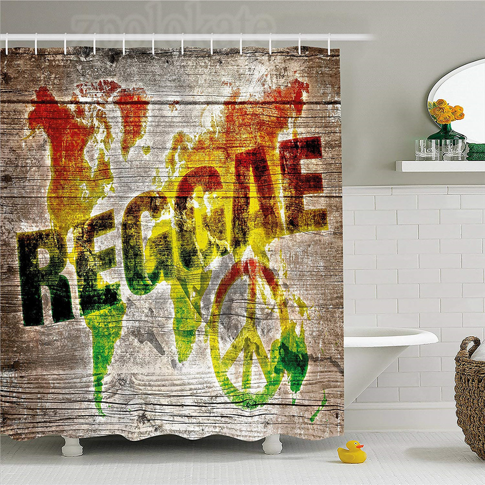 Rasta Shower Curtain World Map On Plaques With Reggae Lettering And Peace  Symbol Fabric Bathroom Decor Set With Hooks Light Br In Shower Curtains  From Home ...