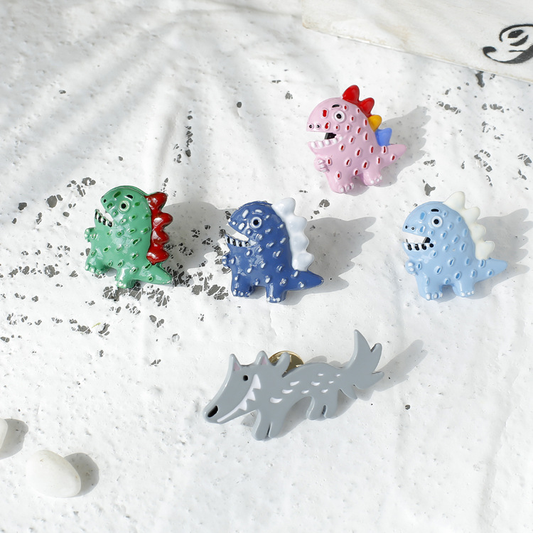 Cartoon Hand Made Dinosaur Pins Cute Colorful Big Ash Wolf Accessory Brooches