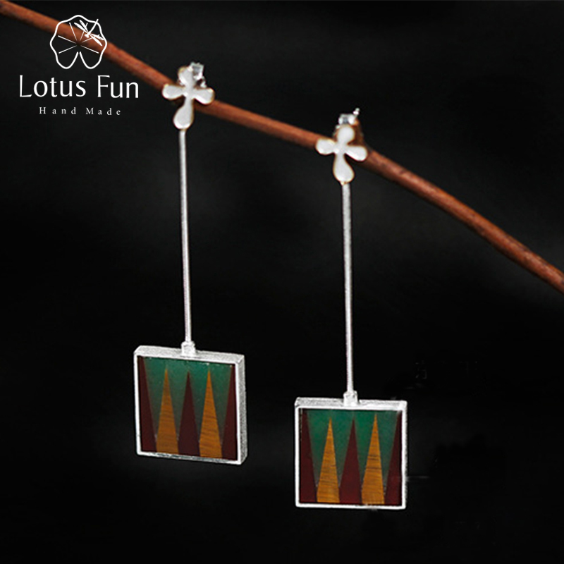 Lotus Fun Real 925 Sterling Silver Natural Creative Handmade Fine Jewelry The City of Gaudi Drop Earrings for Women Brincos
