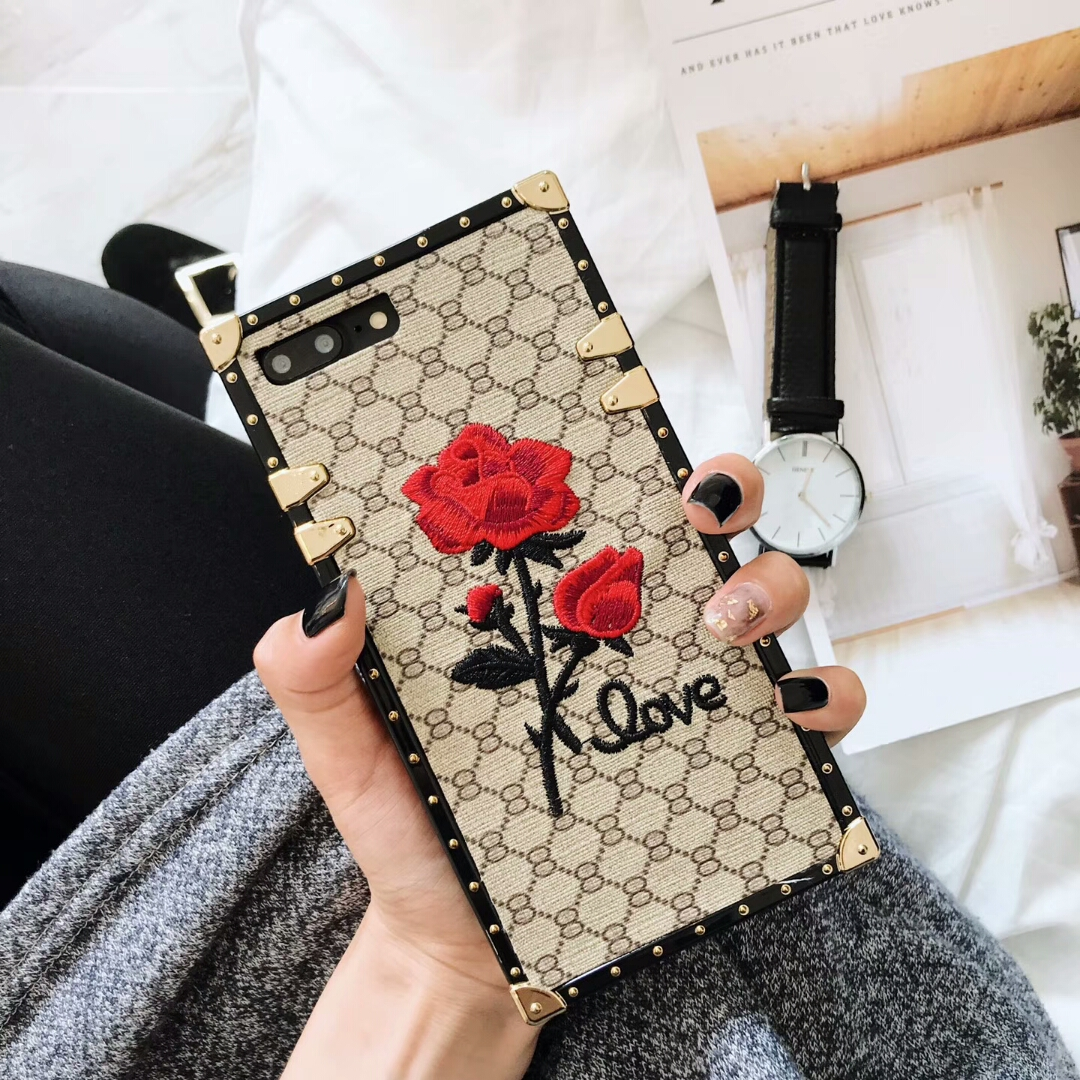 European luxury square embroidery 3D rose phone case for Samsung Galaxy S8 S9 Plus Note 8 9 soft silicone Lanyard cover(China)