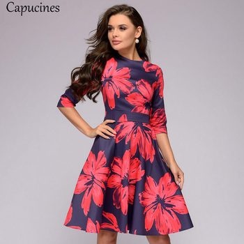 Capucines Printed 3/4 Sleeves Slim A-line Dress Women 2019 Summer O-Neck Casual Dress Elegent Vintage Party Dresses Vestidos 1