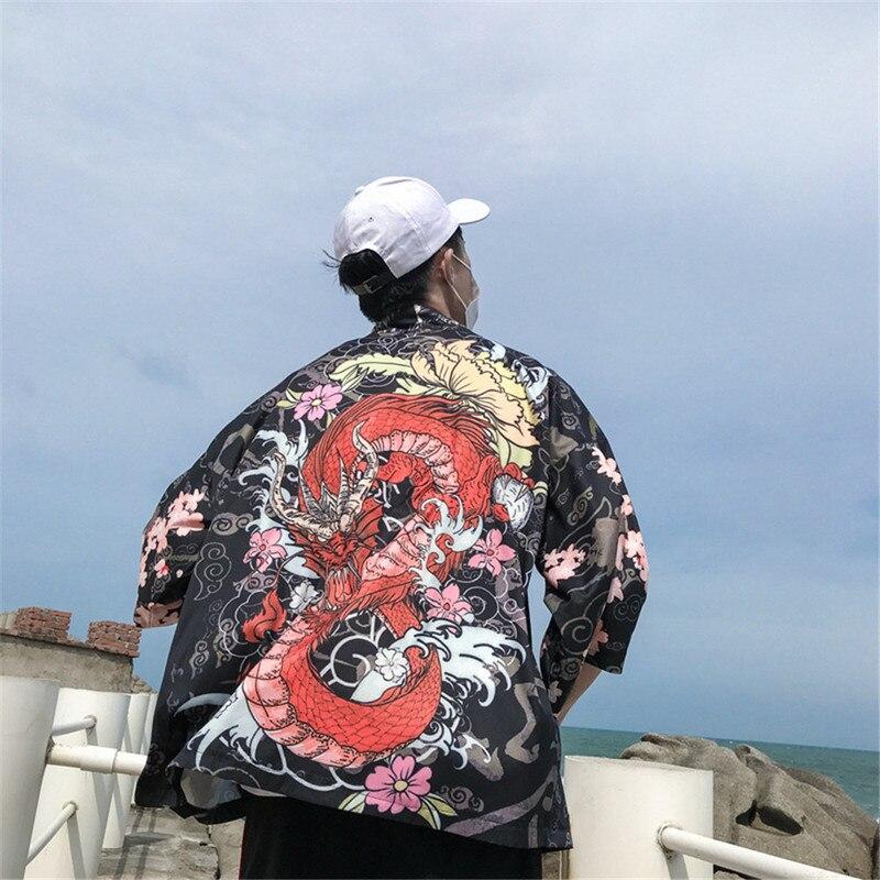 100% Wahr Helisopus Chinesischen Drachen Kimono Shirt Männer Japanischen Streetwear Kimono Strickjacke Männer Blume Druck Sommer Dünne Hemd