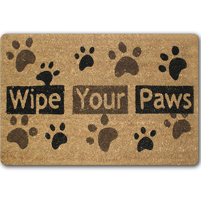 Dog Paw Funny Words Go Away Rubber Indoor Outdoor Welcome