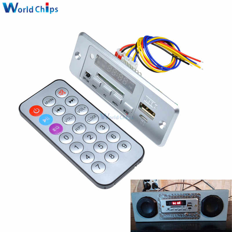Decodificador para coche MP3, módulo de decodificación de 5 V, módulo amplificador Bluetooth 2*3 W, MP3 WAV, disco en U tarjeta TF Mini USB con mando a distancia